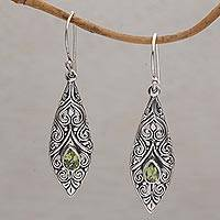 Peridot dangle earrings, 'Teardrop Spirals' - Spiral Motif Drop-Shaped Peridot Dangle Earrings from Bali