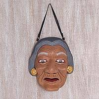 Wood mask, 'Dadong' - Unique Wooden Mask of Old Woman from Bali