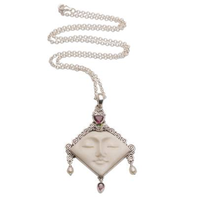 Multi-gemstone pendant necklace, 'Diamond Face' - Multi-Gemstone Face-Shaped Pendant Necklace from Bali