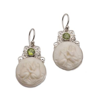 Peridot and Sterling Silver Frog Dangle Earrings from Bali
