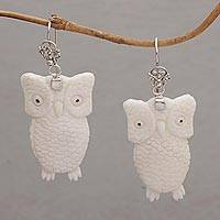 Bone dangle earrings, 'Watchful Owls' - Bone and Sterling Silver Owl Dangle Earrings from Bali
