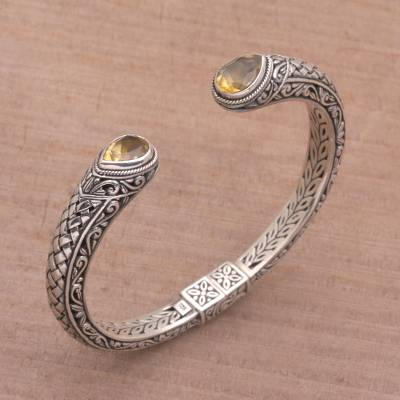 Citrine cuff bracelet, 'Citrine Tears' - Citrine and Sterling Silver Cuff Bracelet from Indonesia
