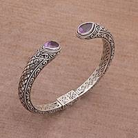Amethyst cuff bracelet, 'Amethyst Tears' - Amethyst and Sterling Silver Cuff Bracelet from Indonesia
