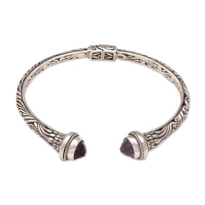 Amethyst cuff bracelet, 'Amethyst Memory' - Amethyst and 925 Silver Swirling Cuff Bracelet from Bal