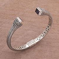 Amethyst cuff bracelet, 'Bali Charm' - Sterling Silver and Amethyst Cuff Bracelet from Indonesia