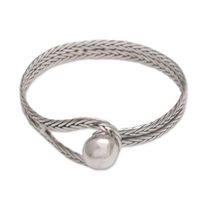 Sterling silver bangle bracelet, 'Magical Silver' - Handmade Sterling Silver Bangle Bracelet from Indonesia