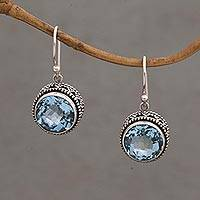 Blue topaz dangle earrings, 'Sparkling Haven' - Handcrafted Blue Topaz and Sterling Silver Dangle Earrings