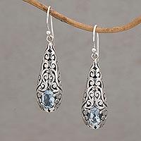 Blue topaz dangle earrings, 'Dangling Vines' - Handcrafted Blue Topaz and Sterling Silver Dangle Earrings