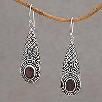 Garnet dangle earrings, 'Sparkling Delight'