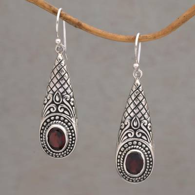 Garnet dangle earrings, 'Sparkling Delight' - Handcrafted Garnet and Sterling Silver Dangle Earrings