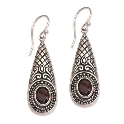 Garnet dangle earrings, 'Sparkling Delight' - Handcrafted Garnet and Sterling Silver Dangle Earrings