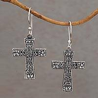 Sterling silver dangle earrings, 'Cross Pathways' - Handcrafted Sterling Silver Cross Dangle Earrings