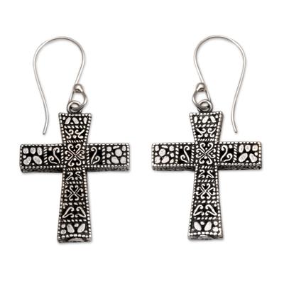 Sterling silver dangle earrings, 'Cross Pathways' - Handcrafted Sterling Silver Cross Dangle Earrings