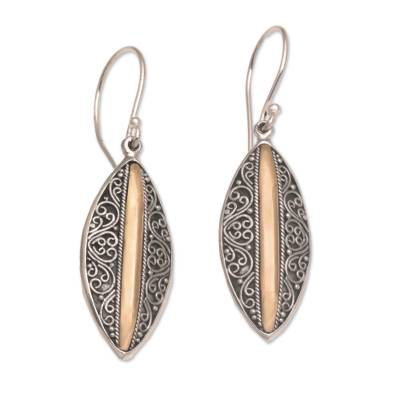 Sterling silver and gold accent dangle earrings, 'Luminous Shields' - Sterling Silver Dangle Earrings with 18k Gold Accents