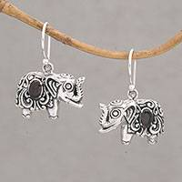 Garnet dangle earrings, 'Elephant Delight' - Garnet and Sterling Silver Elephant Dangle Earrings