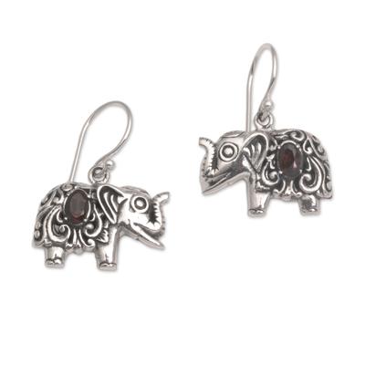 Garnet dangle earrings, 'Elephant Delight' - Garnet and Sterling Silver Elephant Dangle Earrings