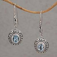 Blue topaz dangle earrings, 'Bright Wonder' - Handcrafted Blue Topaz and Sterling Silver Dangle Earrings