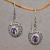 Amethyst dangle earrings, 'Bright Wonder' - Amethyst and Sterling Silver Dangle Earrings from Indonesia