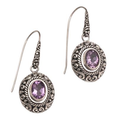 Amethyst dangle earrings, 'Bright Wonder' - Amethyst and Sterling Silver Dangle Earrings from Indonesia