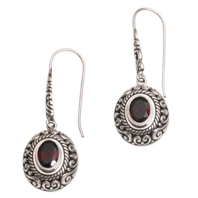 Garnet dangle earrings, 'Bright Wonder' - Handcrafted Garnet and Sterling Silver Dangle Earrings