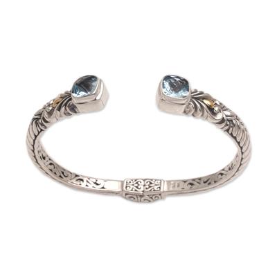 Gold accented blue topaz cuff bracelet, 'Fashion Vine' - 18k Gold Accent Blue Topaz Cuff Bracelet from Bali