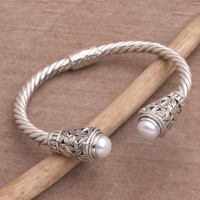 Cultured pearl cuff bracelet, 'Forest Gleam' - Cultured Pearl Leaf Motif Cuff Bracelet from Bali