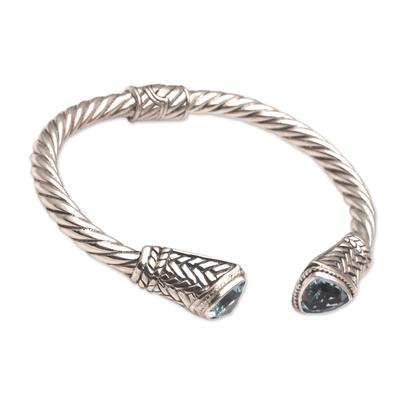 Blue topaz cuff bracelet, 'Sky Weave' - Blue Topaz and Sterling Silver Cuff Bracelet from Bali