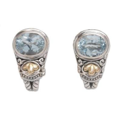 Blue topaz and gold accent drop earrings, 'Seashore Vibes' - Blue Topaz and Gold Accent Drop Earrings from Indonesia