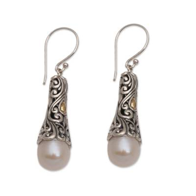 Gold accented cultured pearl dangle earrings, 'Dazzling Swirls' - Gold Accent Cultured Pearl Dangle Earrings from Bali