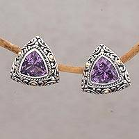 Gold accent amethyst button earrings, 'Mystic Force' - Gold Accent Amethyst Button Earrings from Bali