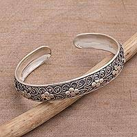 Sterling silver cuff bracelet, 'Shrine Ropes' - Sterling Silver Rope Motif Cuff Bracelet from Bali