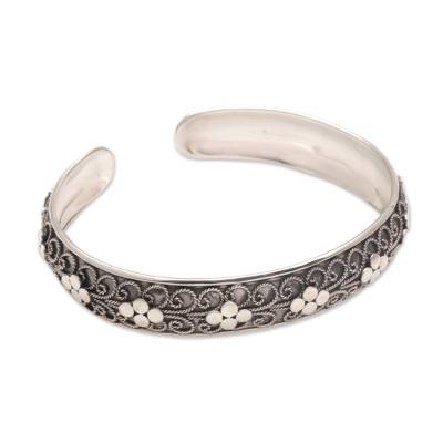 Sterling Silver Rope Motif Cuff Bracelet from Bali