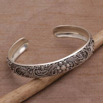 Sterling silver cuff bracelet, 'Shrine Swirls' - Sterling Silver Swirl Motif Cuff Bracelet from Bali