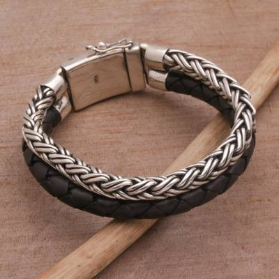 Men's sterling silver and leather bracelet, 'Double Virtue in Black' - Men's Sterling Silver and Leather Wristband Bracelet