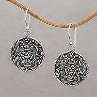 Sterling silver dangle earrings, 'Woven Trio' - Sterling Silver Weave Motif Circular Earrings from Bali