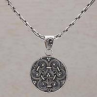 Sterling silver pendant necklace, 'Elegant Triad' - Circular Sterling Silver Pendant Necklace from Indonesia