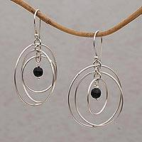 Onyx dangle earrings, 'Atoms' - Onyx and Sterling Silver Dangle Earrings from Bali