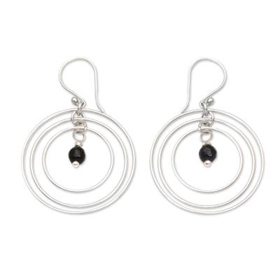 Onyx and Sterling Silver Dangle Earrings from Bali