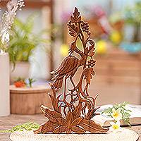 Wood relief panel, 'Heron Garden' - Artisan Hand-Carved Wall Relief Panel of Heron with Berries