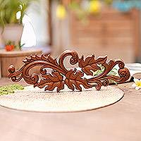 Wood relief panel, 'Leaf Scroll' - Artisan Hand-Carved Leaf Scroll Wall Relief Panel from Bali