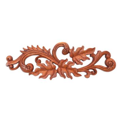 Wood relief panel, 'Leaf Scroll' - Artisan Hand-Carved Leaf Scroll Wall Relief Panel from Bali