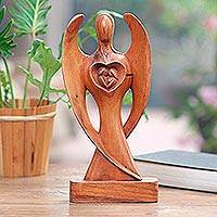 Wood sculpture, 'Love Guardian' - Handcrafted Suar Wood Angel Sculpture from Bali