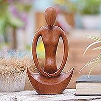 Wood sculpture, 'Maternal Meditation' - Handcrafted Suar Wood Meditation Sculpture from Bali