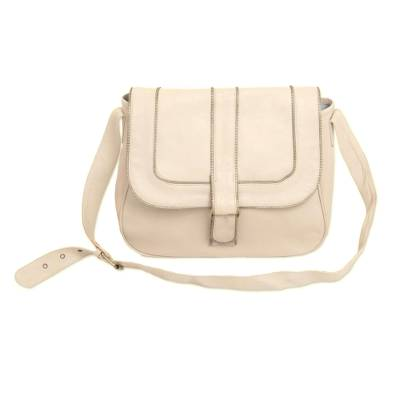 Handcrafted Adjustable Leather Sling in Ivory from Java