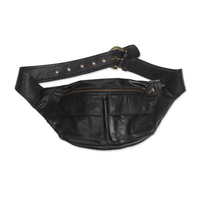 Leather waist bag, 'Uncharted' - Black Leather Fanny Pack Waist Bag with Pockets and Buckle