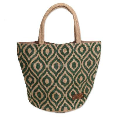 Agel Grass Tote Bag in Natural and Green Pattern