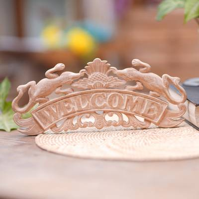 Wood wall sign, 'Natural Welcome' - Distressed Welcome Sign with Geckos and Flowers