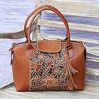 Batik leather handbag, 'Java Fields' - Batik Leather Handbag with Floral Designs