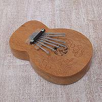 Teakwood kalimba thumb piano, 'Gecko Curves' - Decorative Teakwood Kalimba Thumb Piano from Indonesia