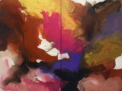 'Unrequited Love' (diptych, 2017) - Bright Abstract Paintings from Java (Set of Two)